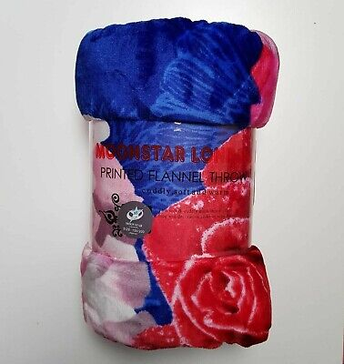 Comfy Large Bed Sofa Throws Flannel Red Roses Design King Size Soft Luxury • 12.99£