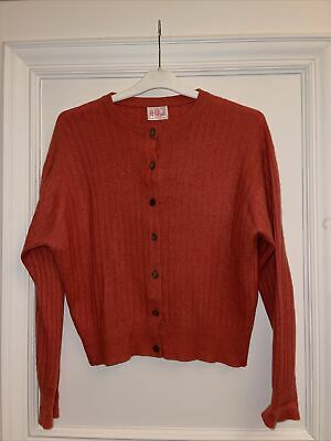 N Peal % Vintage Cashmere Women's Burnt Orange Cardigan Size M • 35£