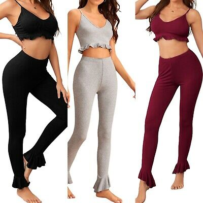 £10.99 • Buy Women Clothing Outfit Crop Top & Legging Loungewear Fitness Workout Activewear