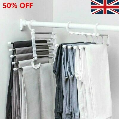 £9.56 • Buy 5In1 Clothes Jeans/Trousers Hanger Multi-Layer Storage Rack Closet Space/Saver
