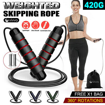 AU11.64 • Buy Heavy Weighted Skipping Jump Rope Sweat-proof Boxing Training Fitness Gym Speed