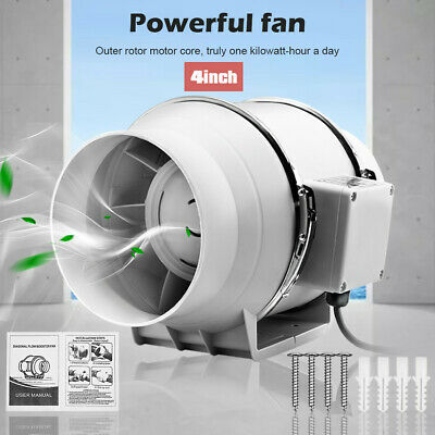 AU32.56 • Buy 4 Inch Silent Extractor Fan Duct Hydroponic Inline Exhaust Industrial Vent