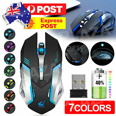 AU15.95 • Buy LED Wired Wireless Gaming Mouse USB Ergonomic Optical For PC Laptop Rechargeable