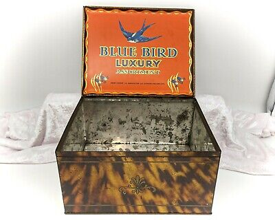 Large Vintage Tin-Blue Bird Luxury Assortment-Confectionery/Sweets/Advertising • 34.99£
