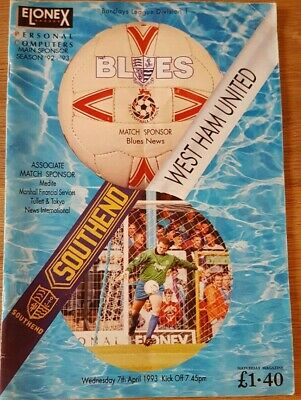 Southend United V West Ham United 1992-93 • 1.04£
