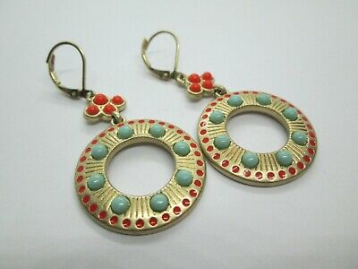 $ CDN12.62 • Buy Lia Sophia Dangle Earrings Faux Coral Turquiose Satin Gold Plate