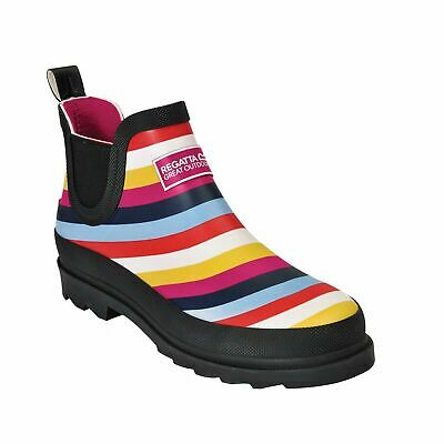 Womens Regatta Harper Slip On Clogs Ankle Wellington Boots Wellies Multi Stripe • 23.95£