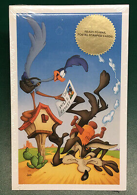 Wile E Coyote Road Runner Stamped Postcards New Sealed Looney Tunes Cartoon USPS • 7.28£