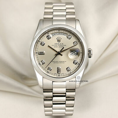 £24500 • Buy Rolex Day-Date 118206 Platinum Watch With Silver Diamond Dial