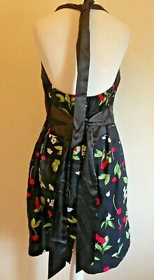 BNNT! GRACE KARIN Sz 16 Black Style Dress W Cherries Halterneck Rockabillly 50s  • 9.99£