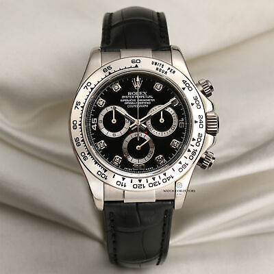 $ CDN37858.16 • Buy Rolex Daytona 116519 - Rolex Service - 18k White Gold Black Diamond Dial