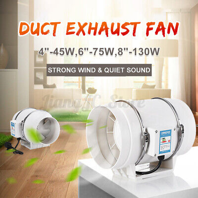 AU35.53 • Buy 4/6/8  Silent Fan Extractor Duct Hydroponic Inline Exhaust Industrial Vent AU J