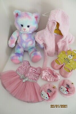 Build A Bear Pastel Kitty + Pink Clothes Dressing Gown Outfit Dress Shoes Bundle • 7.10£
