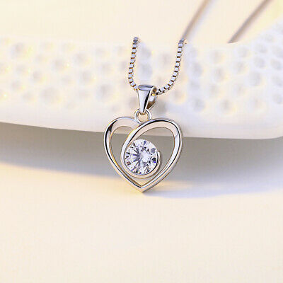 £3.09 • Buy  Crystal Swirl Stone Heart Pendant Necklace 925 Sterling Silver Womens Gift UK