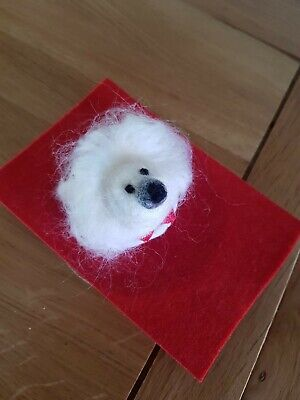 Hand Made  New Needle Felted White Fluffy  Dog  Brooch Sporting A Red Bowtie  • 2.80£