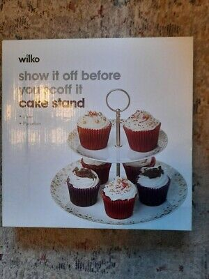 BNIB Wilko 2 Tier Cake Stand - White & Trimmed With Gold & Copper Dots • 4£