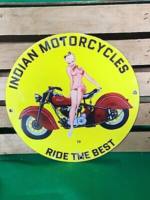 $ CDN12.70 • Buy Vintage Porcelain Indian Motorcycles Gas And Oil Sign