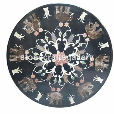 30  Round Marble Top Coffee Table Mosaic Elephant Inlay Stone Dining Decors B031 • 806£