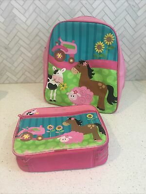 AU5 • Buy Stephen Joseph Backpack School Bag - Pink Tractor Horse Girls Bag And Lunch Bag