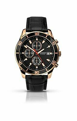 Men's Quartz Watch With Black Dial Chronograph Display And Black Leather • 61.99£