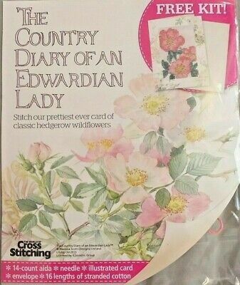 Country Diary Of Edwardian Lady Cross Stitch Card Kit Wild Hedgerow Rose & Chart • 3.75£