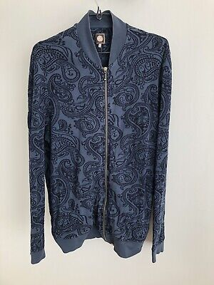 Pretty Green Mens Naseby Paisley Zip Sweater Navy Blue - Large • 10£