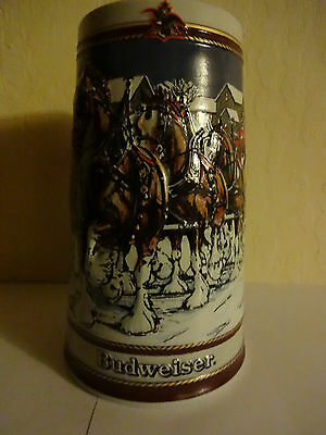 $ CDN6.99 • Buy Vintage Budweiser 1989 Holiday Beer Stein Christmas Clydesdales Anheuser-Busch