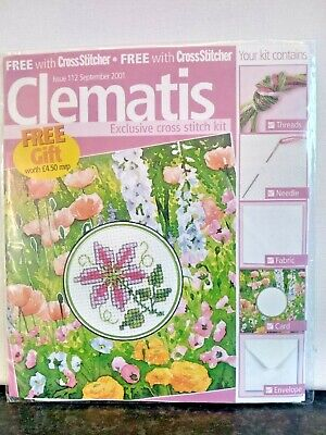 £1.99 • Buy CLEMATIS Cross Stitch Card Kit & CHART Flowers Garden Thank You Birthday