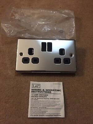 Lap 2 Gang Polished Chrome With Black  Insert Twin Socket 13a Switched • 5£