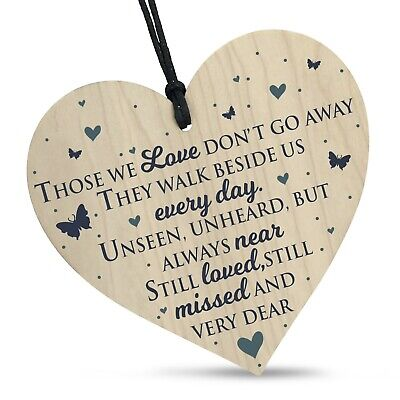 £3.39 • Buy Wooden Heart Plaque Sign Bereavement Memorial Remembrance Poem Loss Love Gift
