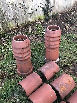 Terracotta Clay Chimney Pots Cowl Rain Cap Top • 45£