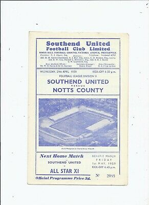 Southend United V Notts County 29 April 1959 • 0.99£