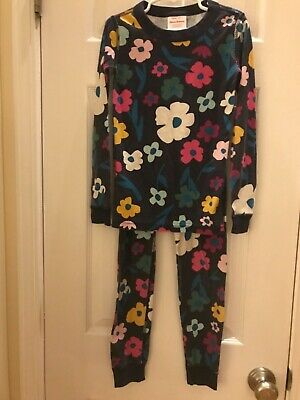 $13.50 • Buy Hanna Andersson Navy Floral Girls Pajamas Set Size 6 7 Organic Cotton