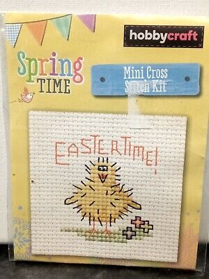 HobbyCraft Mini Cross Stitch Kit Easter Time Yellow Chick Chicken Baby Bird • 2.70£