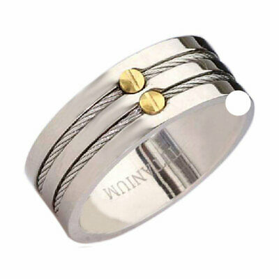 $11.99 • Buy Titanium Pip Cut 8mm Band Duo Cable & Gold IP Screw Inlay Men's Wedding Ring