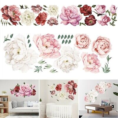 Painted Flower Decals Stickers Nursery Wall Window Decoration Art Ornament Gift • 9.67£