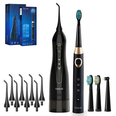 View Details Fairywill Rechargeable Water Flosser Oral Irrigator + 3 Mode Electric Toothbrush • 43.99$