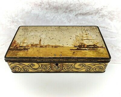 Vintage Tin-Gold Lockbox With Nautical Scenes-No Key-DBF-Belgian-Sweets/Biscuits • 17.99£