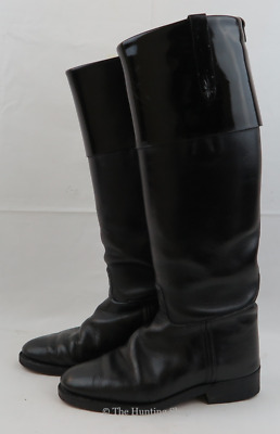 £45 • Buy Long Black Leather Hawkins Boots With Patent Tops, Size 4 - RRP £80 *CLEARANCE*