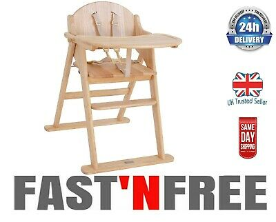 East Coast Folding Baby Feeding Highchair Natural All Wood Antique Finish  • 86.99£