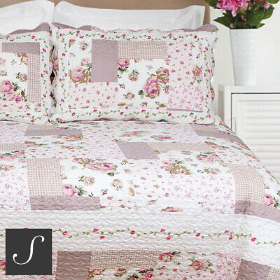 £24.95 • Buy Luxury Patchwork Quilt Blush Pink Floral Country Double King Size Bedspread Set