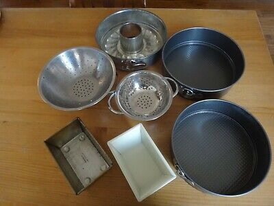 Baking Tins Bundle 3 Spring Form / 2 Small Loaf / 2 Colanders Preowned Good • 4.20£