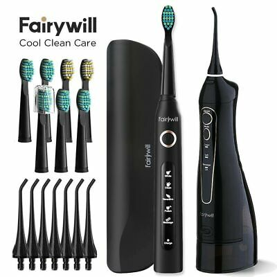 View Details Fairywill Cordless Water Flosser & Electric Toothbrush With Travel Case Black • 52.99$