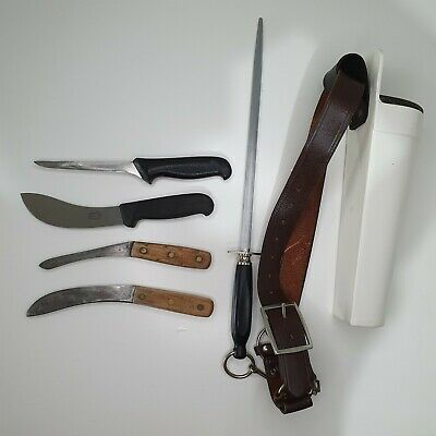 AU89 • Buy F. DICK - VICTORINOX - MUNDIAL 7 BUTCHER KNIVES Holder BELT Set Sharpener Steel