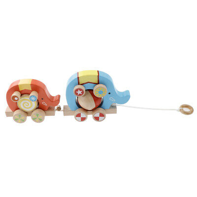 Wood Pull Toy Push And Pull Elephant Pull Along Walking Toy For Baby Toddler • 18.10£