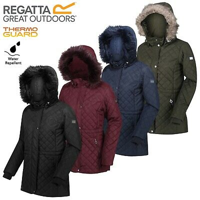 Regatta Zella Womens Jacket Quilted Insulated Parka Fur Trim Hooded Coat • 33.99£