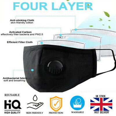 Face Mask Protective Covering Dust Washable Adult 4 Layer PM 2.5 No Valve  • 3.49£