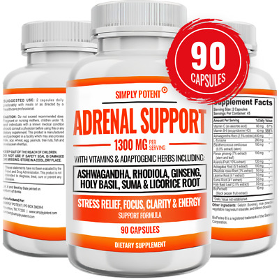 £15.82 • Buy Adrenal Support 90 Capsules For Relaxation & Sleep Aid, Stress & Fatigue Relief