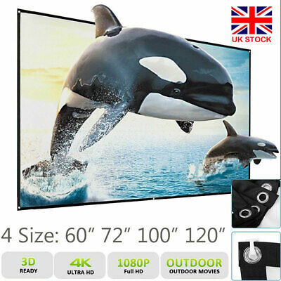 £16.69 • Buy Projector Projection Screen Manual Pull Down Outdoor Home Movie 100  120inch UK