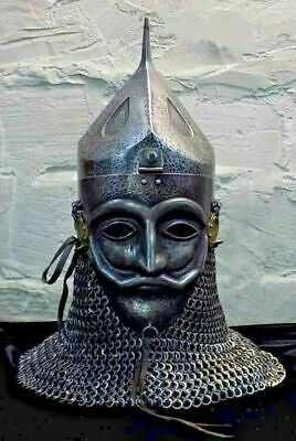 16 Gauge Steel Medieval Knight Mask Ottoman Empire Helmet With Chainmail • 404.10£